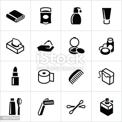 Personal care icons. All white strokes/shapes are cut from the icons and merged allowing the background to show through. File type - EPS 10.