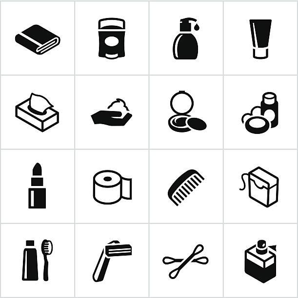 black körperpflege-symbole - shampoos stock-grafiken, -clipart, -cartoons und -symbole
