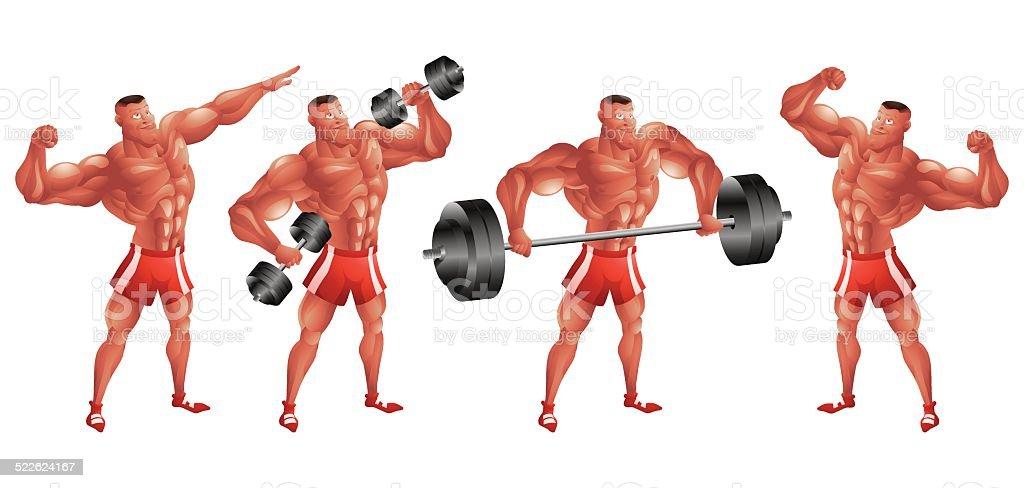 Black bodybuilder in different poses vector art illustration