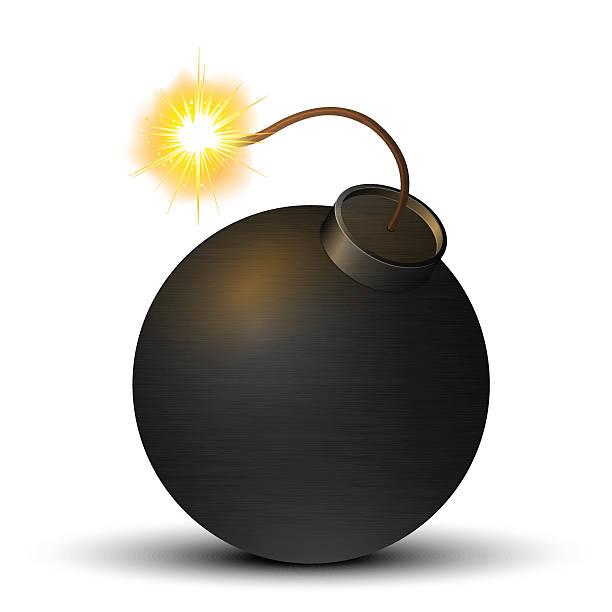Black Bomb Black bomb isolated on a white background. Vector illustration explosive fuse stock illustrations