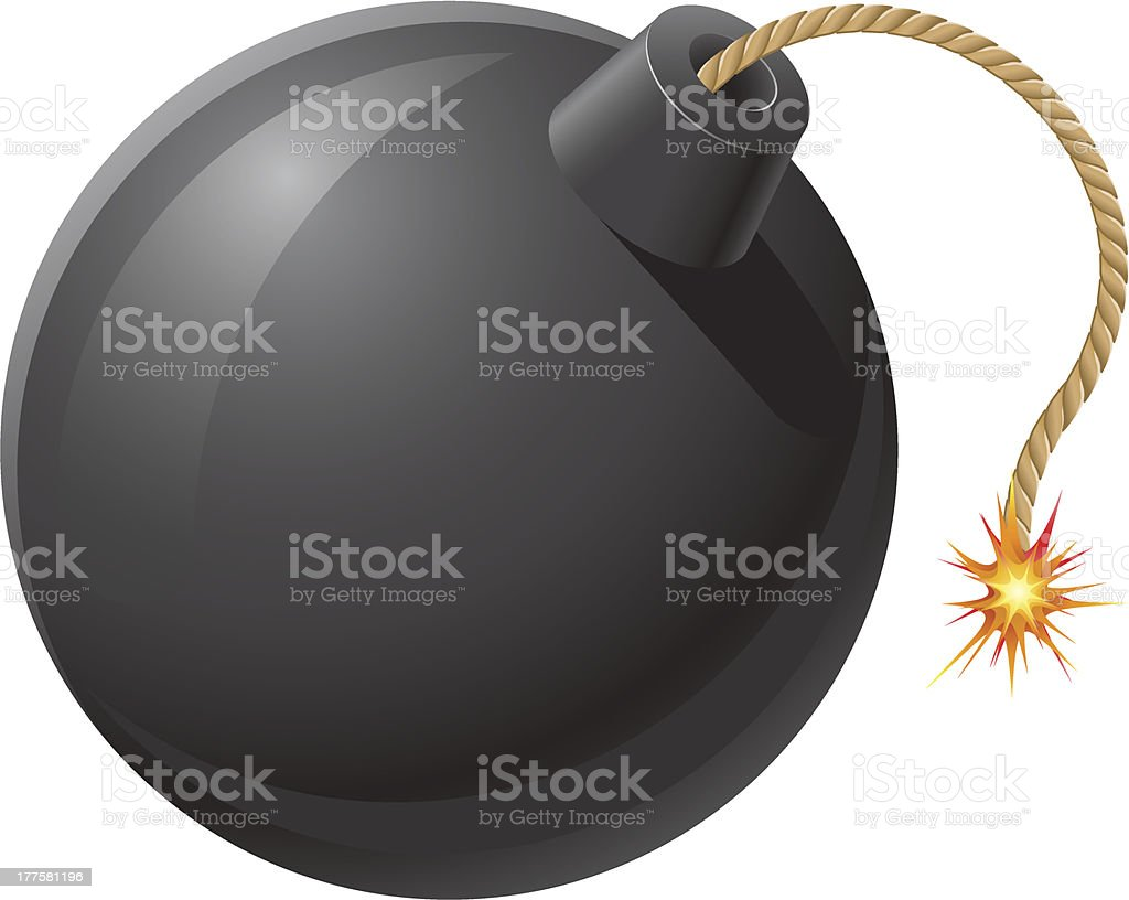 black bomb with a burning fuse vector illustration vector art illustration