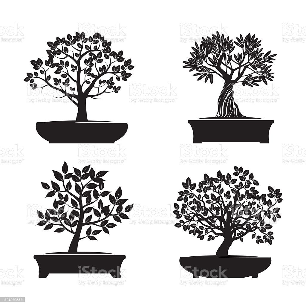 Czarny Drzewka Bonsai Ilustracja Wektorowa Stockowe