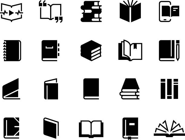 Black books icons. Study education book set, textbook magazine diary bible business collection. Vector logo Black books icons. Study education book set, textbook magazine diary bible business collection. Vector book logo book icons stock illustrations