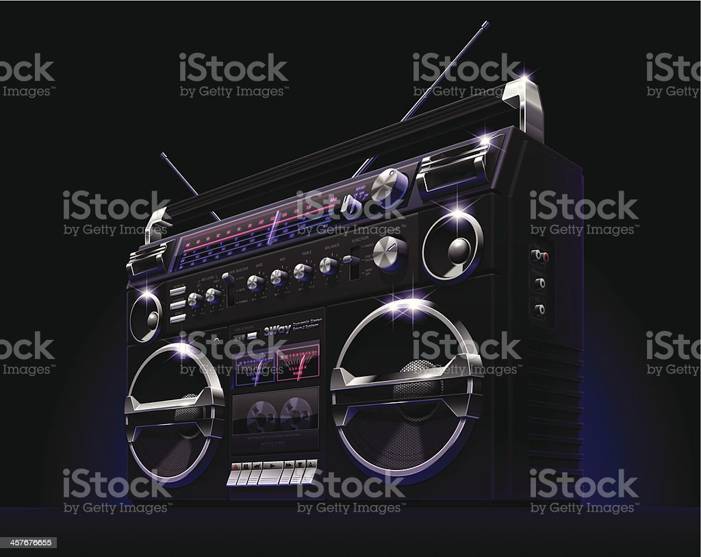 Black Boombox vector art illustration