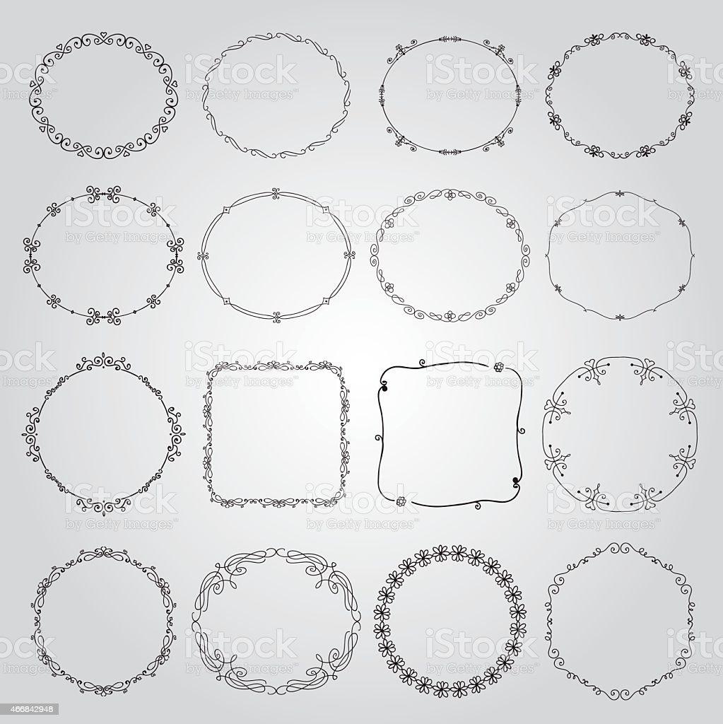 Black borders in various shapes and styles on white vector art illustration
