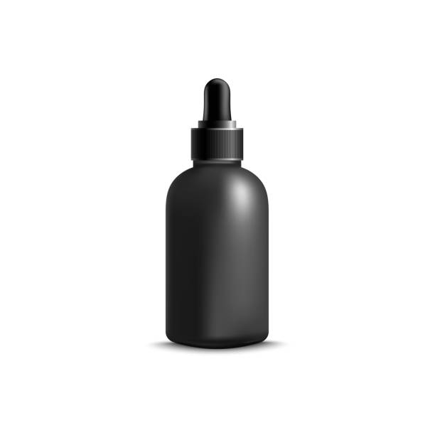 Black bottle of liquid face serum with rubber eyedropper cap, realistic blank mockup for cosmetic branding Black bottle of liquid face serum with rubber eyedropper cap, realistic blank mockup for cosmetic branding. Beauty product design isolated on white background - vector illustration. focus on shadow stock illustrations