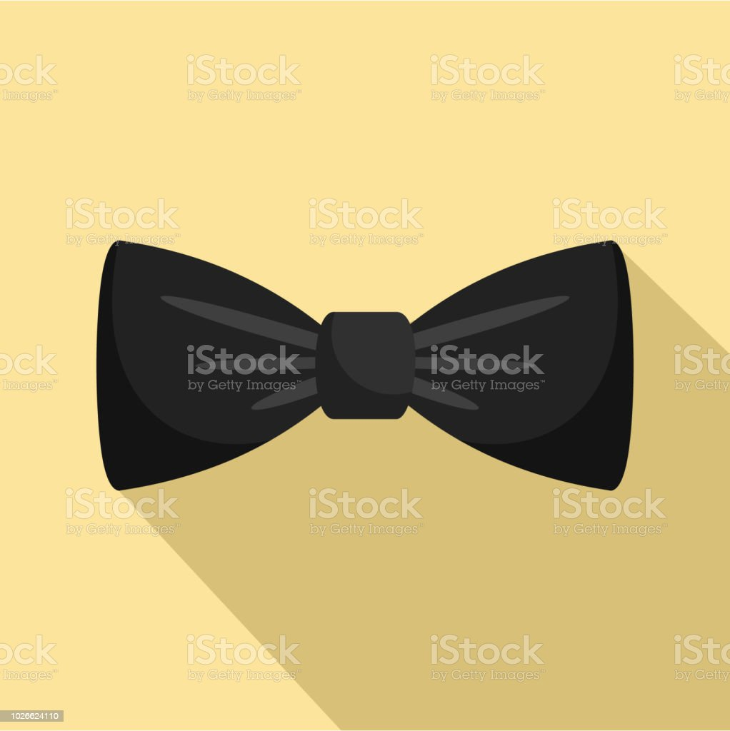 Black bow tie icon, flat style vector art illustration