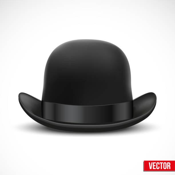 6f68378d8d044 Black bowler hat on a white background vector vector art illustration