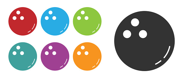 Black Bowling ball icon isolated on white background. Sport equipment. Set icons colorful. Vector Illustration