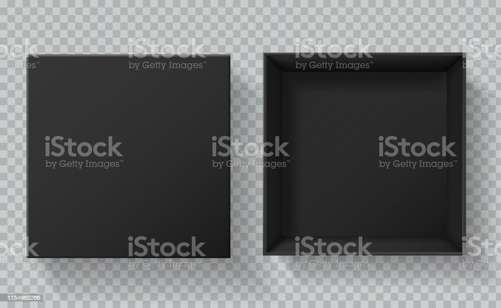 Black box packaging. Top view open and closed gift presentation...