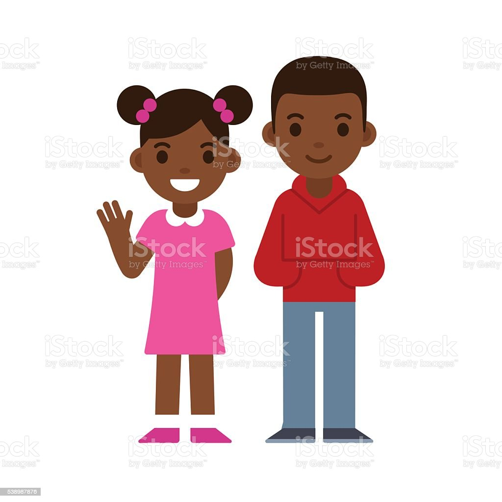Black boy and girl vector art illustration