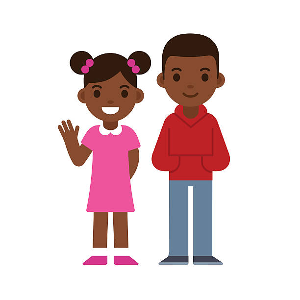 ilustraciones, imágenes clip art, dibujos animados e iconos de stock de niño y niña negro - hermano