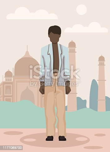 Black Boy in Blue Jacket and Beige Pants in India. Vector Illustration. Traveling Different Countries. Travel Agency. Traveling Around World. National Clothing. Tourist Voyage. Vacation and Weekend.