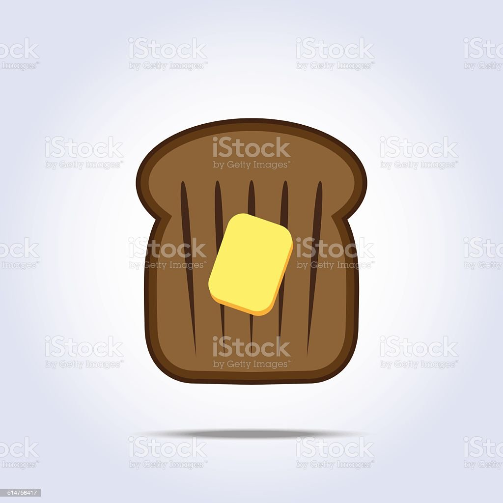 Black bread toast icon with butter vector art illustration