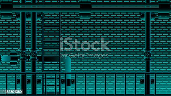 istock black brick wall and water pipe stair neno blue lighting blink. vector illustration eps10. 1135304080