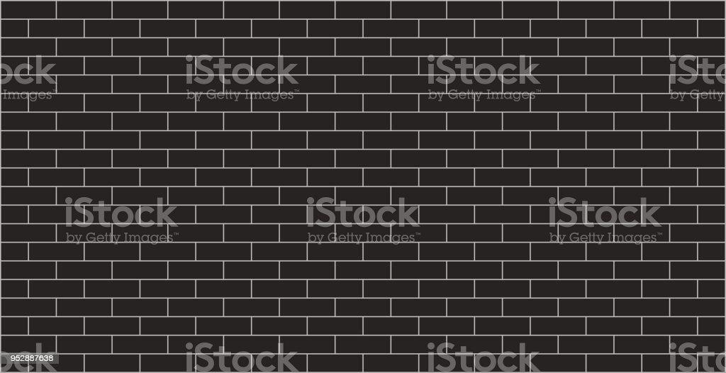 Black brick wall background vector art illustration
