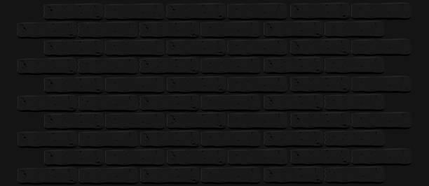 Black brick wall texture. Cracked empty background. Grunge dark wallpaper. vector art illustration