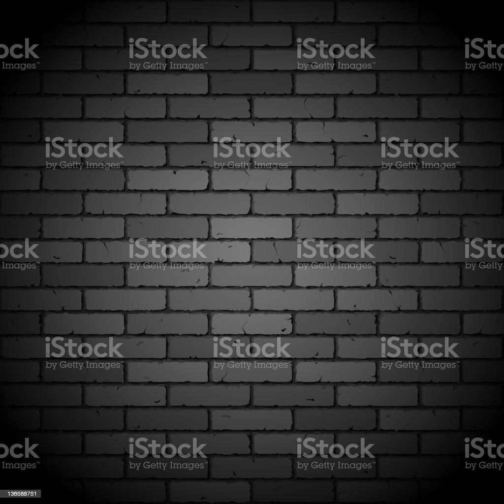 Black brick wall vector art illustration
