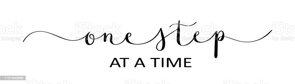 One Step At A Time Black Brush Calligraphy Banner Stock ...