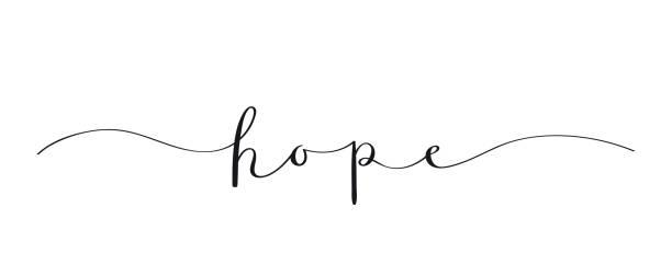 ilustraciones, imágenes clip art, dibujos animados e iconos de stock de hope negro pincel caligrafía banner - esperanza