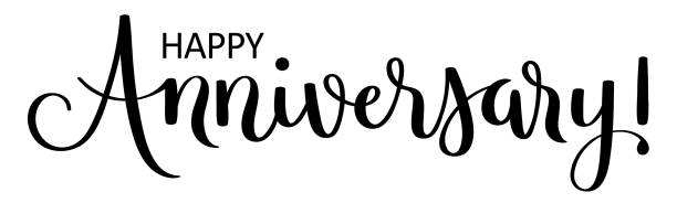 bildbanksillustrationer, clip art samt tecknat material och ikoner med happy anniversary! svart pensel kalligrafi banner - årsdag