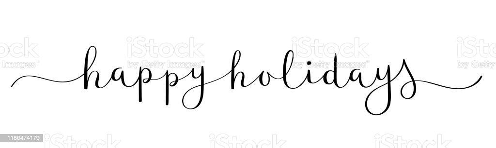 HAPPY HOLIDAYS черный баннер каллиграфии кисти - Векторная графика Баннер - знак роялти-фри