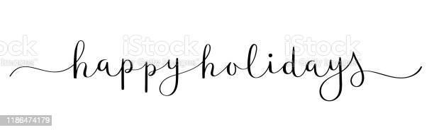 Happy Holidays Черный Баннер Каллиграфии Кисти — стоковая векторная графика и другие изображения на тему Баннер - знак