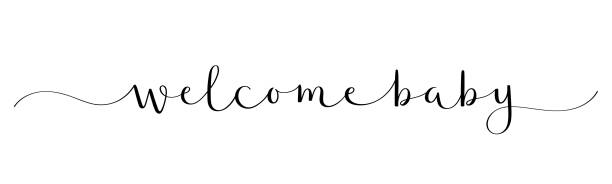 WELCOME BABY black brush calligraphy banner WELCOME BABY black vector brush calligraphy banner with swashes it's a girl stock illustrations