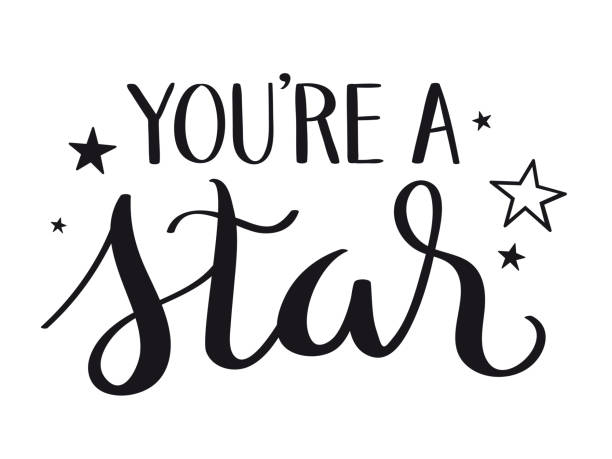 YOU'RE A STAR! black brush calligraphy banner YOU'RE A STAR! black vector brush calligraphy banner with swashes you re awesome stock illustrations