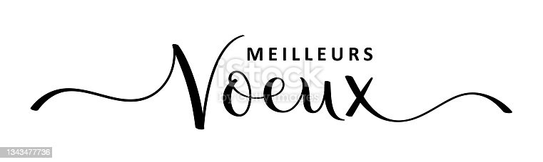 istock MEILLEURS VOEUX black brush calligraphy banner (SEASON'S GREETINGS in French) 1343477736