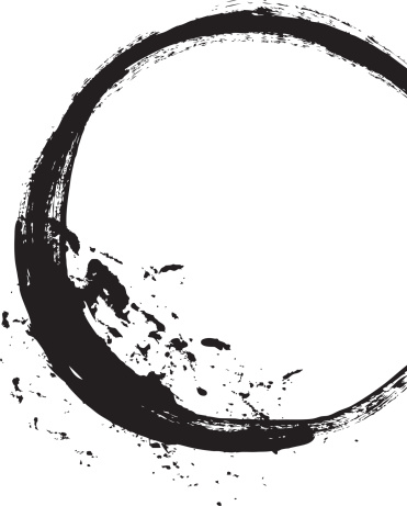 Black brush stroke in the form of a circle. Drawing created in ink sketch handmade technique. Isolated on white background.