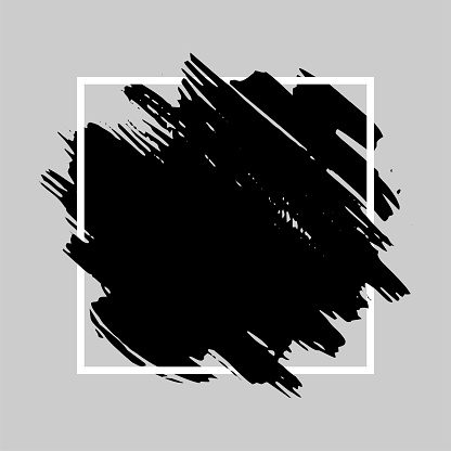 Black brush stroke over square frame.