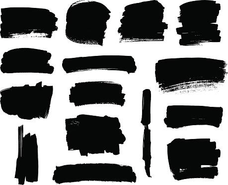 Black brush strokes set
