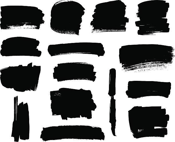 Black brush strokes set Set of grunge vector textured black ink brush strokes paintbrush stock illustrations
