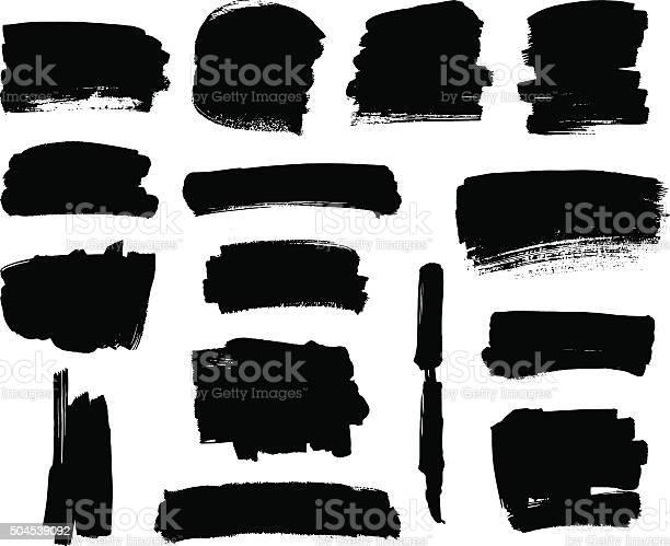 Set of grunge vector textured black ink brush strokes