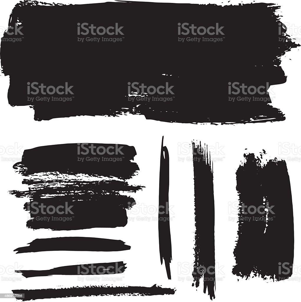 Black brush strokes vector art illustration