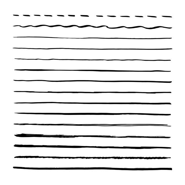 Black brushpen hand drawn vector lines. Set of strokes, brushes. Isolated on white background Black brushpen hand drawn vector lines. Set of strokes, brushes. Isolated on white background straight stock illustrations