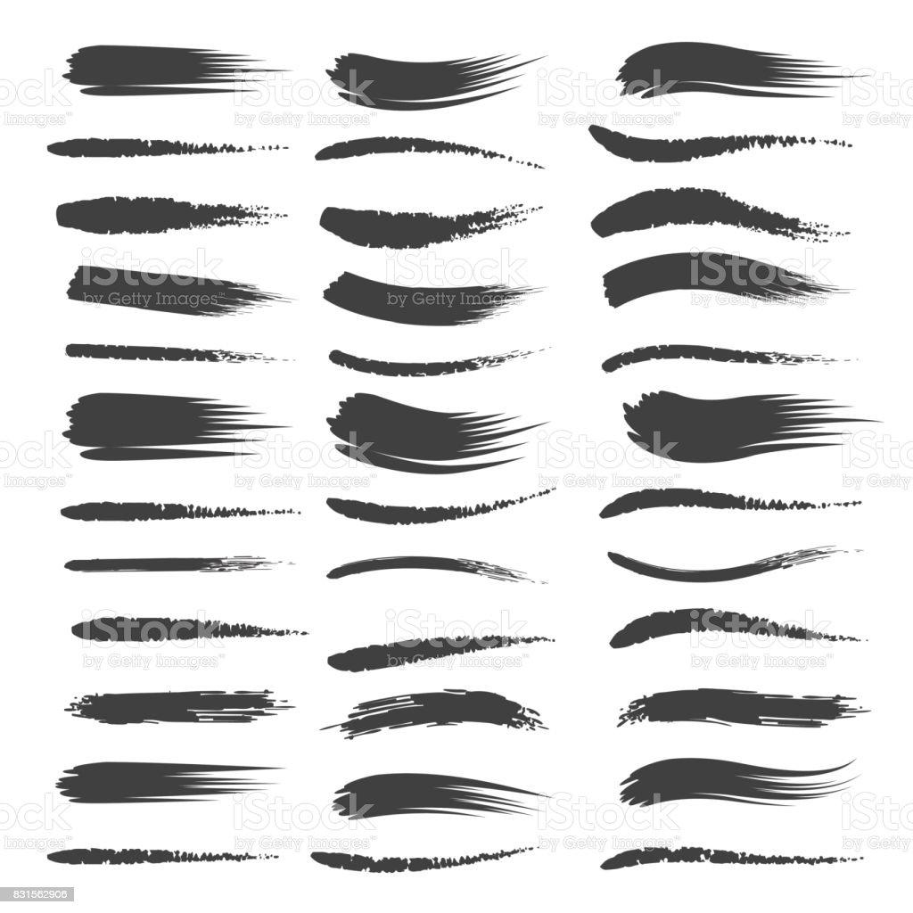 Black brushstroke set vector art illustration