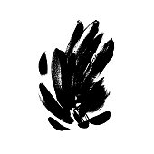 Black brushstrokes hand drawn vector illustration. Abstract freehand drawing. Floral dry paint brush texture. Grunge isolated clipart. Greeting card, postcard, textile monochrome design element