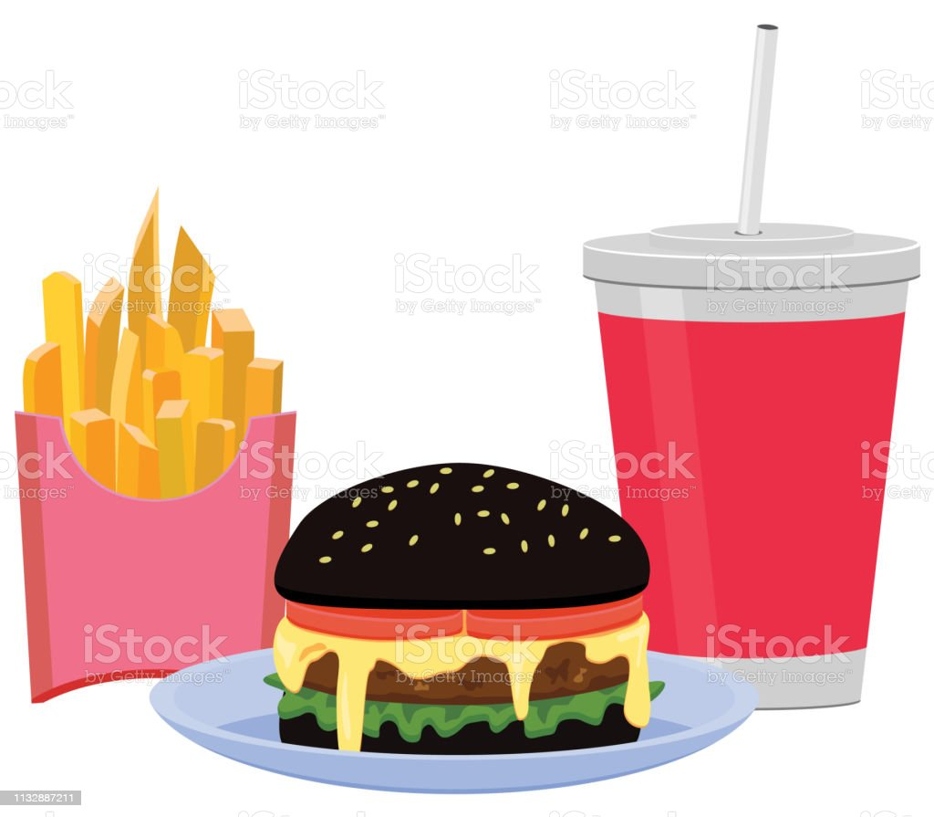 Vector illustration of black hamburger meal with French fries and...