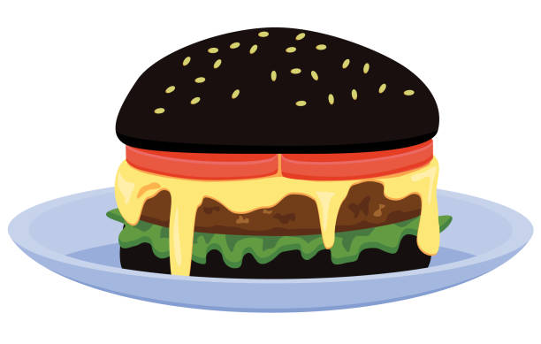 Black burger on plate vector icon vector art illustration