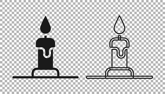Black Burning candle in candlestick icon isolated on transparent background. Cylindrical candle stick with burning flame. Vector
