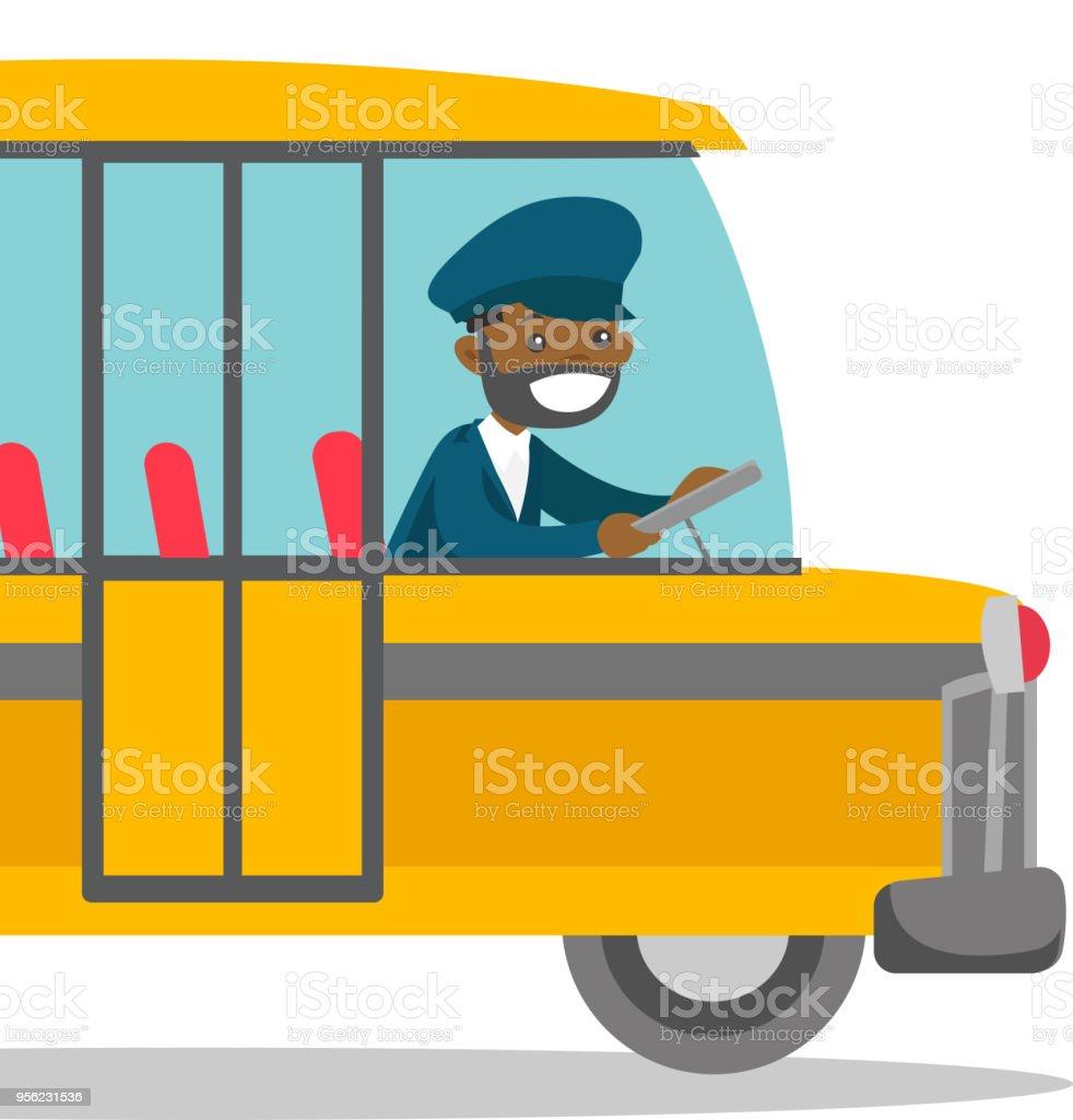 Black bus driver sitting at steering wheel vector art illustration
