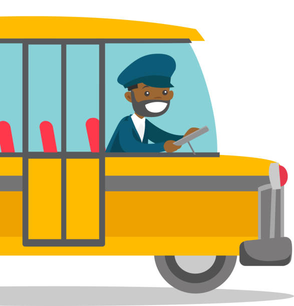 Black bus driver sitting at steering wheel vector art illustration