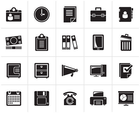 Black Business and office supplies icons