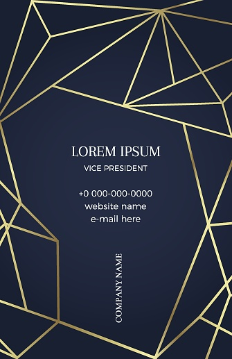 Black business card with a geometric pattern
