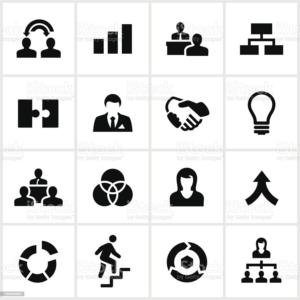 Black Business Collaboration Icons royalty-free stock vector art