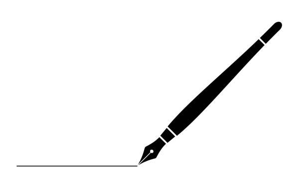czarny kojca fontanny biznesowej z linią izolowane na białym stronie internetowej, aplikacji i projektowania ilustracji wektorowej - pióro przyrząd do pisania stock illustrations