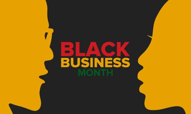 ilustraciones, imágenes clip art, dibujos animados e iconos de stock de mes de negocios negros en agosto. celebrado anualmente en estados unidos. apoyar a la comunidad afroamericana. campaña de negocios propiedad de negros. cartel, tarjeta de felicitación, banner, fondo. ilustración vectorial - black people