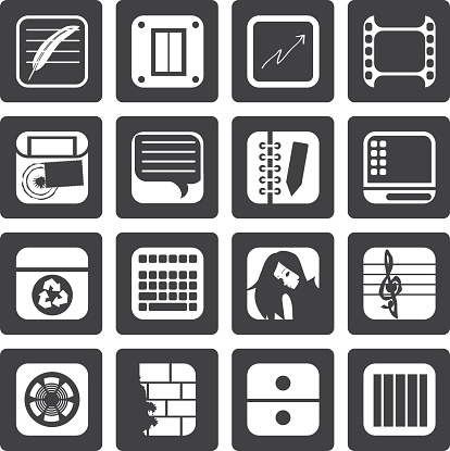 Black Business, Office and Mobile phone icons